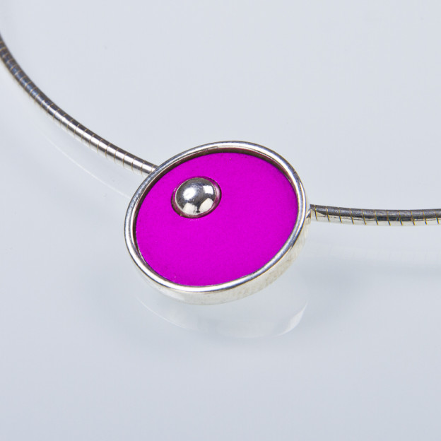 silver necklace with cool pink metallic look from Nordic fields